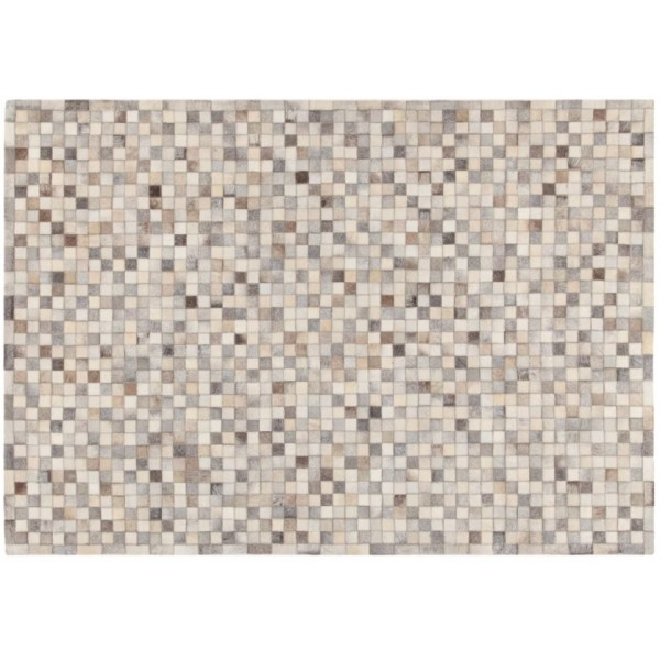 Rug In Leather Patch Mosaic, Grey