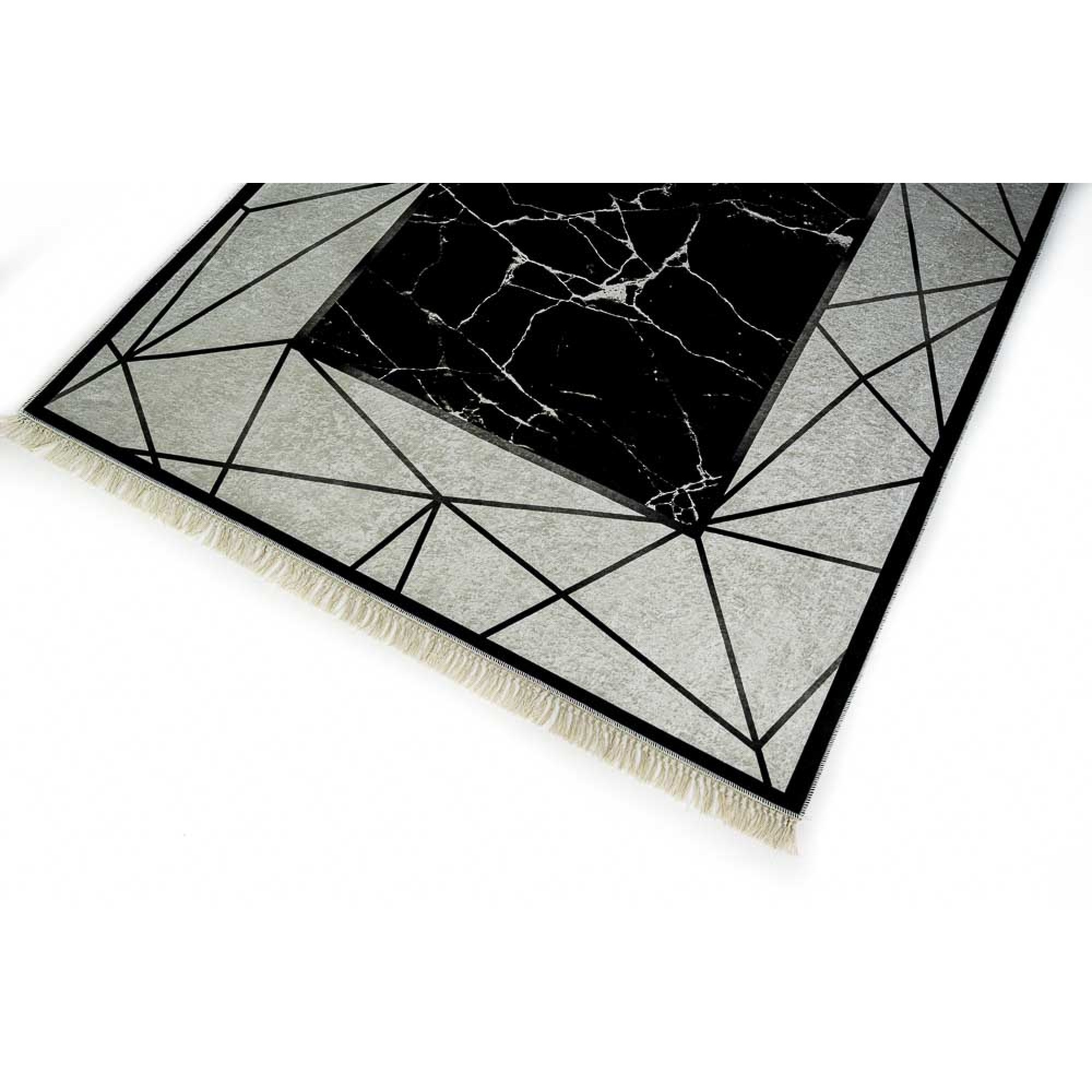 Rug with digital print with geometric patterns, white, black and gray