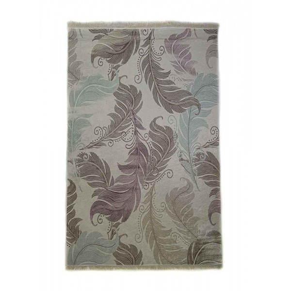 Rug with digital print with floral, mint green and brown motifs