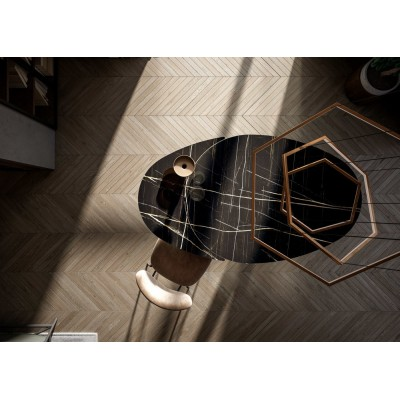 Extendable table with graphite gray metal base, black marble glass top and golden graphic details - ONE