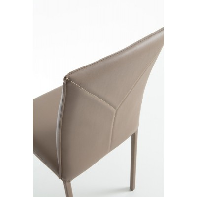 Chair with metal frame, fully covered with ecological coffee cream leather - FELIX