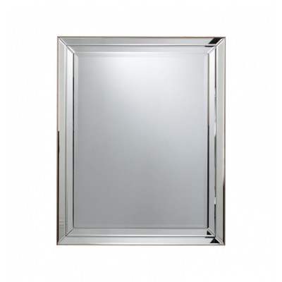 Contemporary mirror framed champagne mirror with a double bevelled strip.   Dimensions 800x1000mm