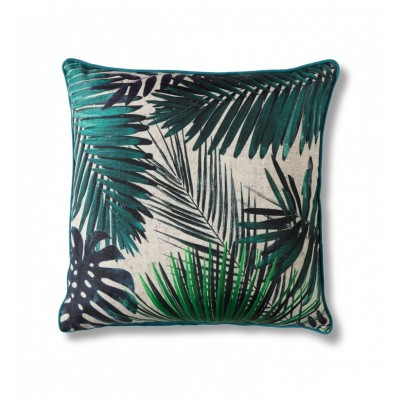 Striking colourful palm leaves design printed onto textured slub with contrasting piping. Dimensions 450x450mm