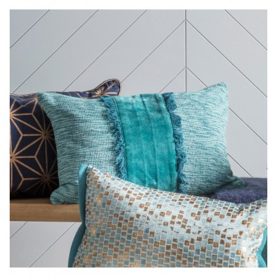 The Ariel embellished fringe cushion in teal is ideal to add a different shape, colour and texture to your soft furnishings or bedding. Dimensions 500xH350mm