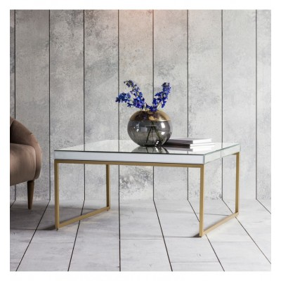 Introduce style into your room with this classy coffee table, featuring a mirror top and gold metal frame.   Dimensions 900x900x460mm