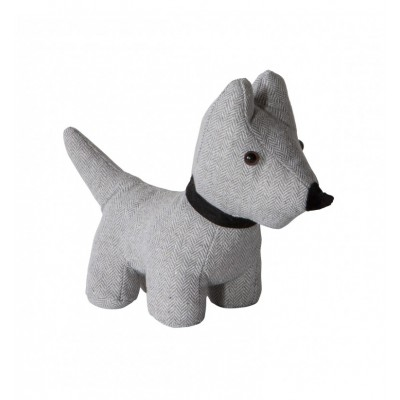 A cute and stylish 'Scottie' dog doorstop in a natural herringbone fabric with fabric collar. Dimensions 290x100xH260 mm