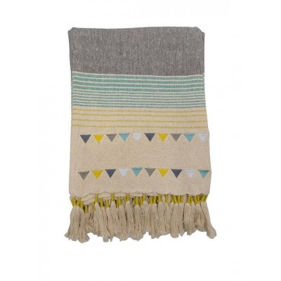 Lagom Gala Throw in Teal and Ochre