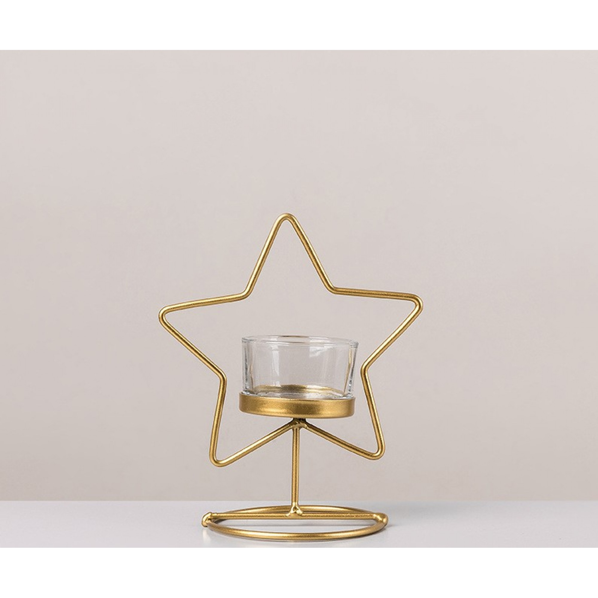 Gold metal candle holder - STAR