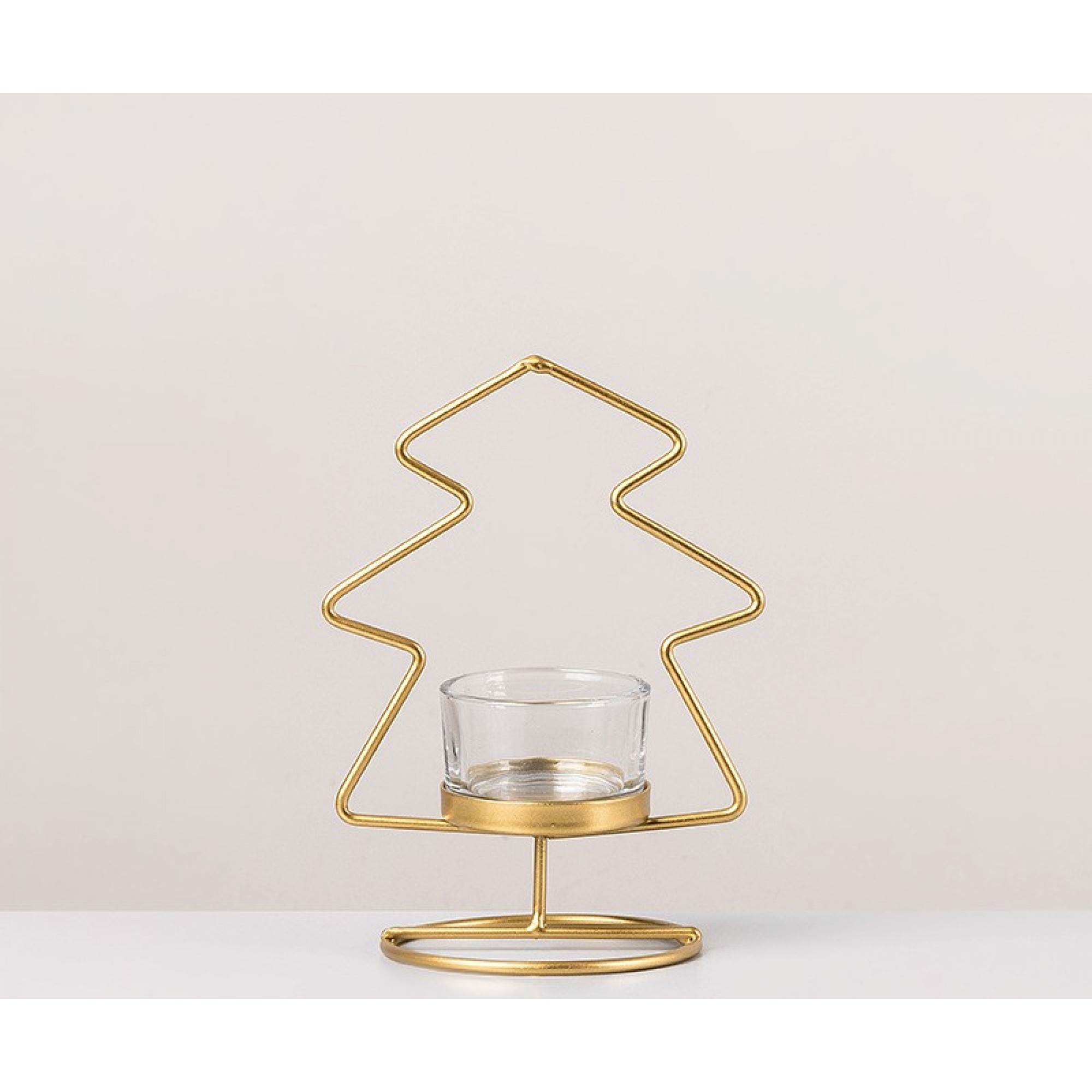 Gold metal candle holder - TREE