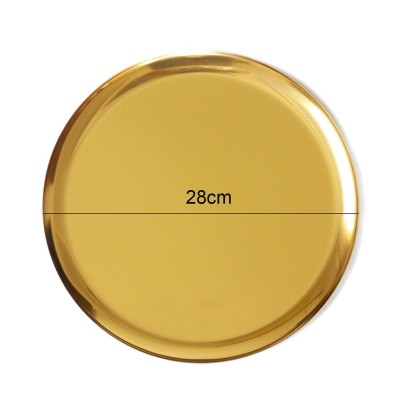 Gold handmade round stainless steel tray - Helios