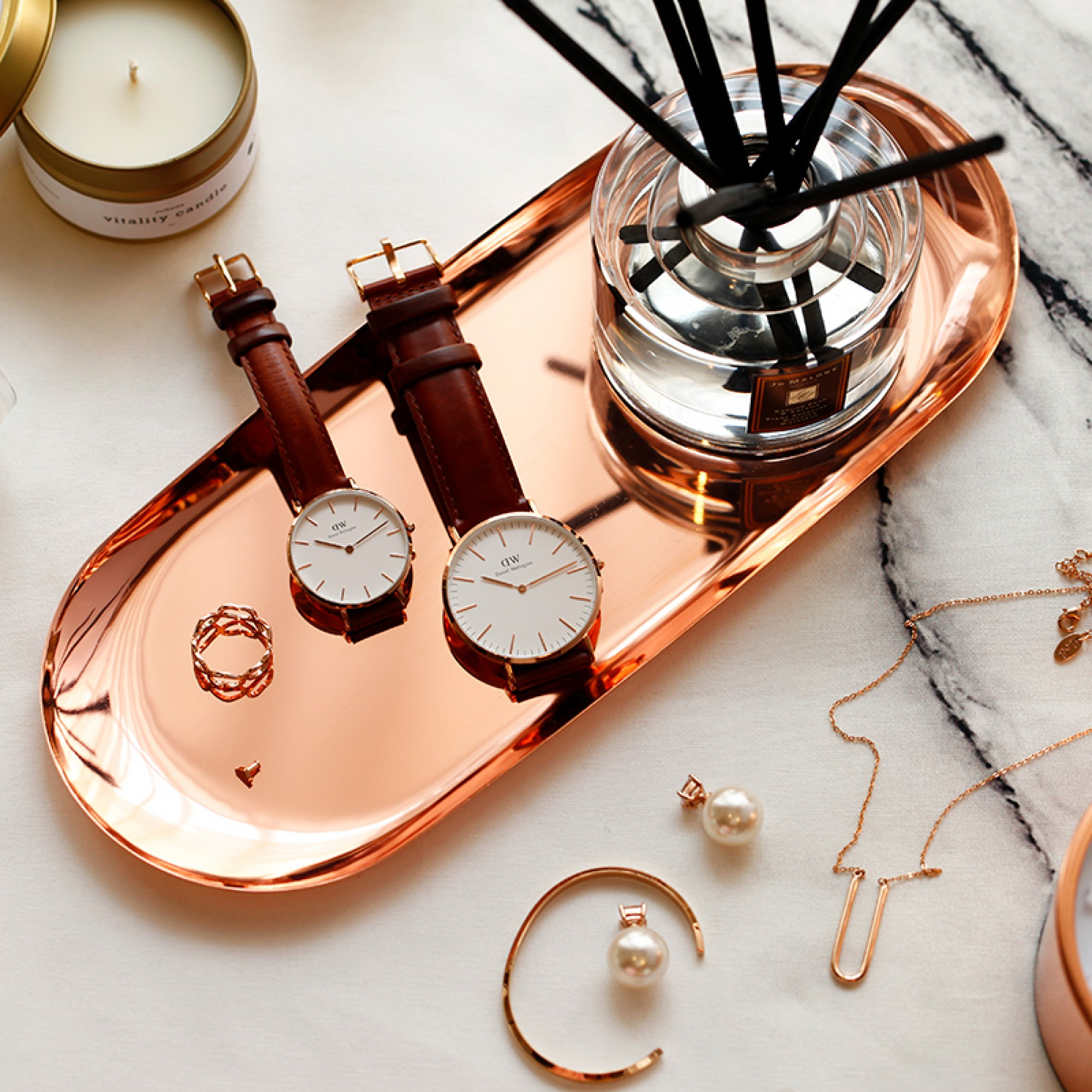 Rose Gold Stainless steel tray, S- Alder
