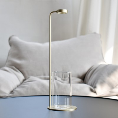 Glass vase with matte brass stainless steel suport - Flower