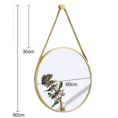 Round wall mirror with gold metal frame - TITUS
