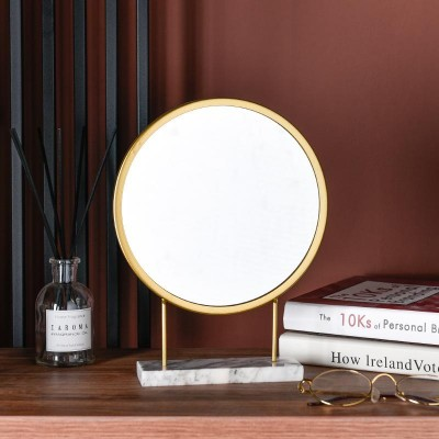 Multifunctional cosmetic mirror with satin gold metallic structure and white marble base - MIA