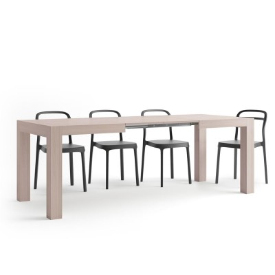 Iacopo Modern Extendable Table, Pearled Elm