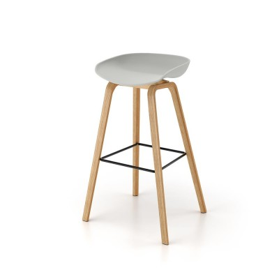 Polypropylene chair with wood legs.