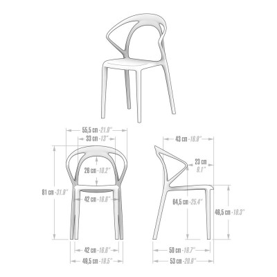 White plastic dining chair - Olivia