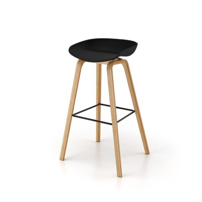 Polypropylene chair with wood legs