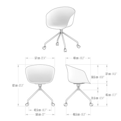 Office chair with wheels, black - Clara