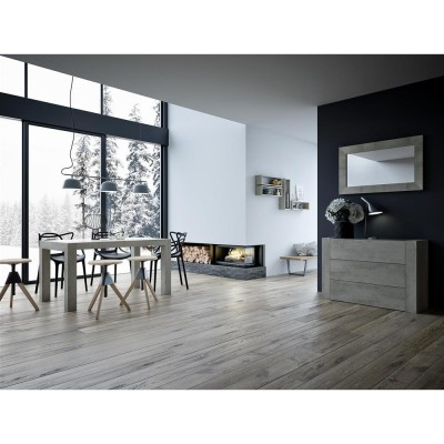 Oak slideboard with glass look and glass top - IACOPO