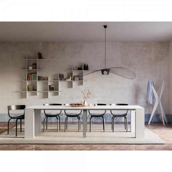 Angelica Extendable Console Table, White Ash