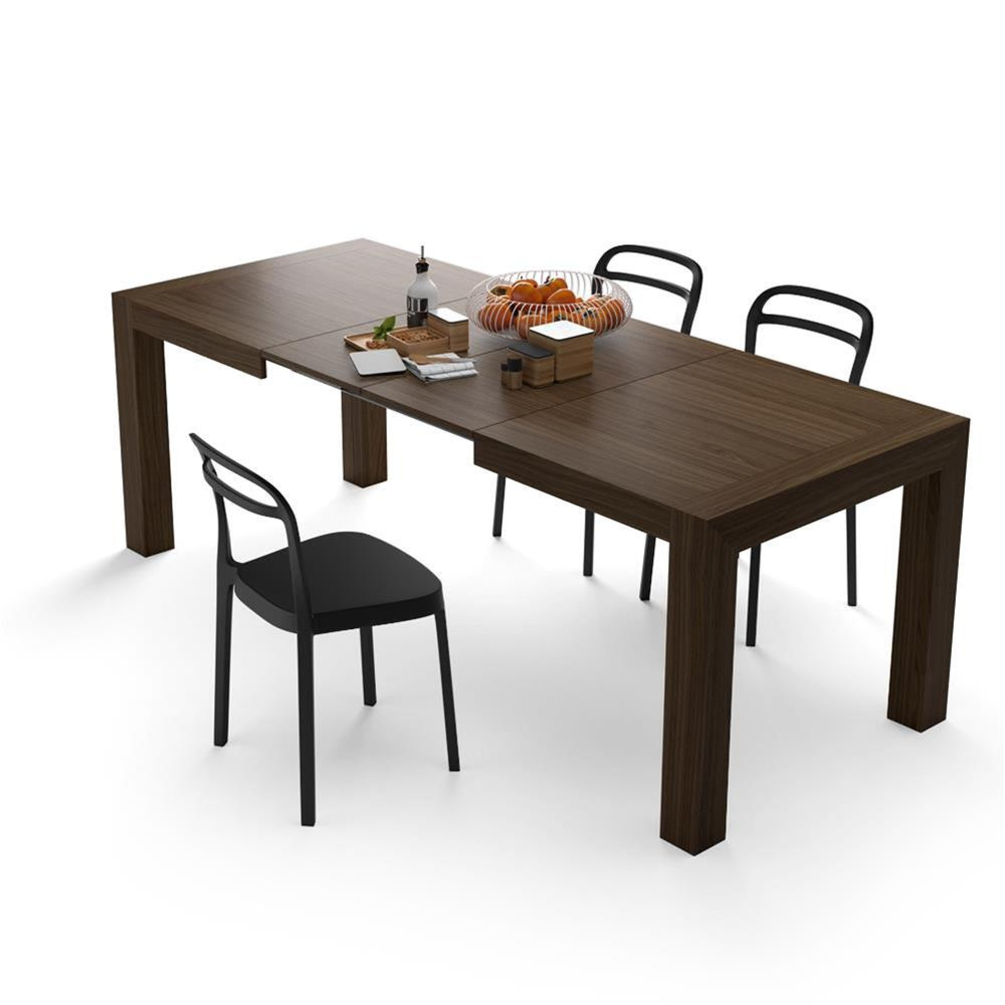 Iacopo Modern Extendable Table, Canaletto Walnut