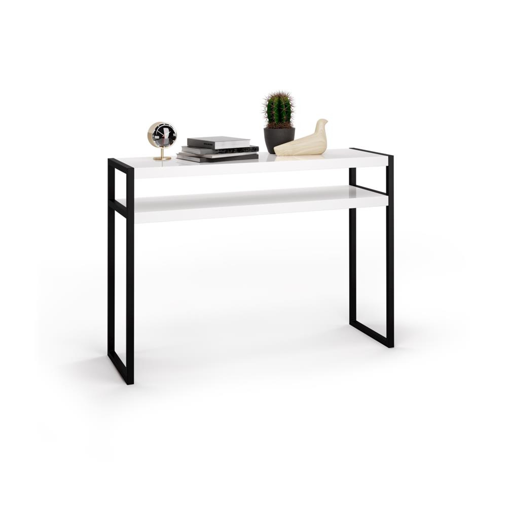 Entrance table with metal structure and wooden countertops, glossy white - Luxury