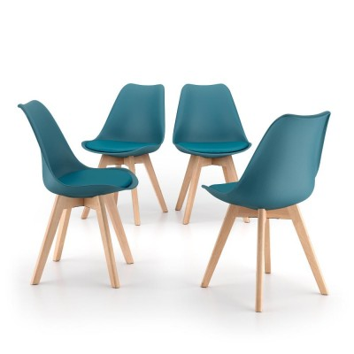 Set of 4 chairs with wooden legs.