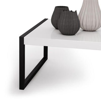 Coffee table with black metal frame and melamine wood top, glossy white - LUXURY COFFEE