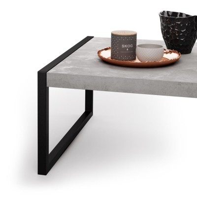 Coffee table with black metal frame and melamine wood top, gray - LUXURY COFFEE
