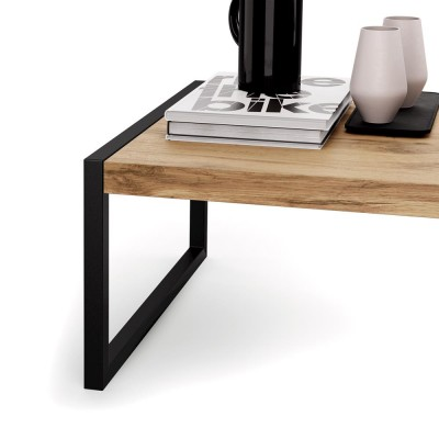 Coffee table with black metal frame and melamine oak top - LUXURY COFFEE