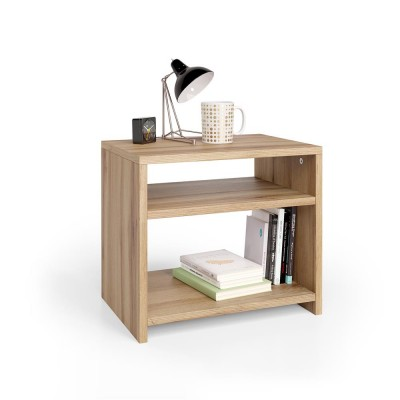 Simple and modern bedside table with spacious storage compartments, without drawers.