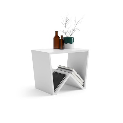 The EMMA coffee table is made entirely of white melamine wood and fits in any room.