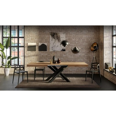 Extendable table with black metal structure and solid wood countertop - EMMA