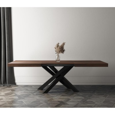 Extendable table with black metal structure and walnut countertop - EMMA
