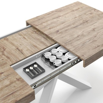 Extendable table with white metal structure and oak top - EMMA