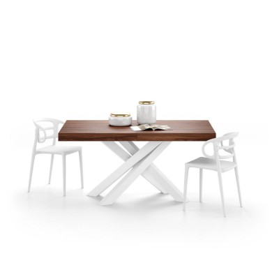 Extendable table with white metal structure and walnut countertop - EMMA