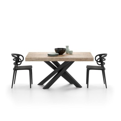 Extendable table with black metal structure and oak top - EMMA