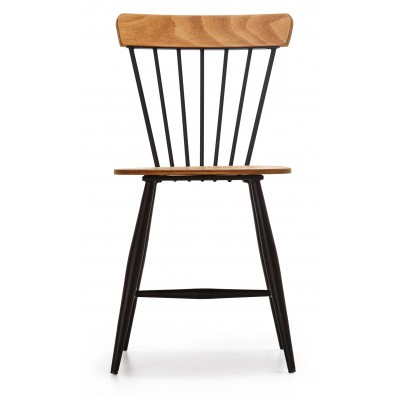Chair with black metal structure and wooden details - CUBUK