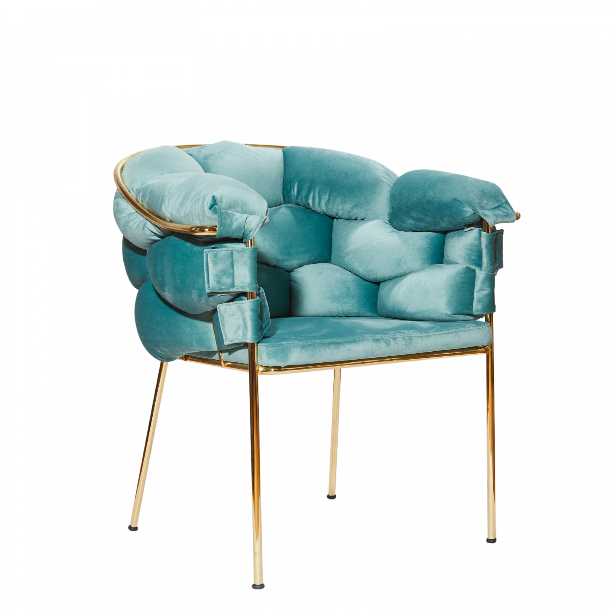 Chair with golden metal structure, fully upholstered with mint velvet – BALONLU