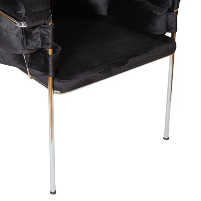 Chair with silver metal structure, fully upholstered with black velvet – BALONLU