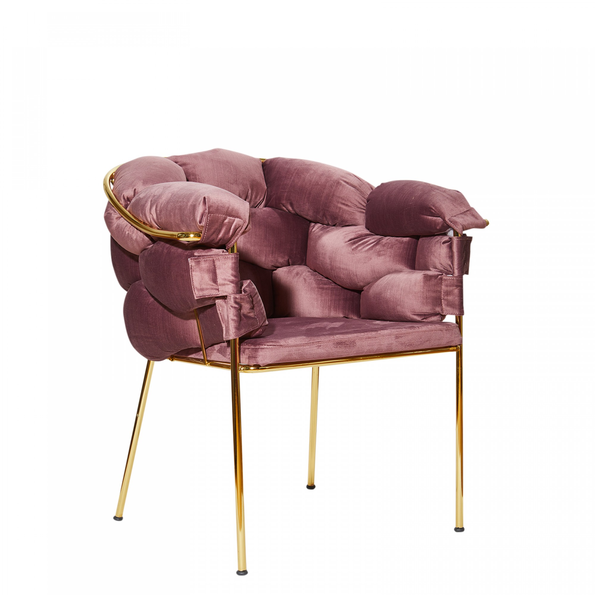 Chair with golden metal structure, fully upholstered with pink lavender velvet – BALONLU