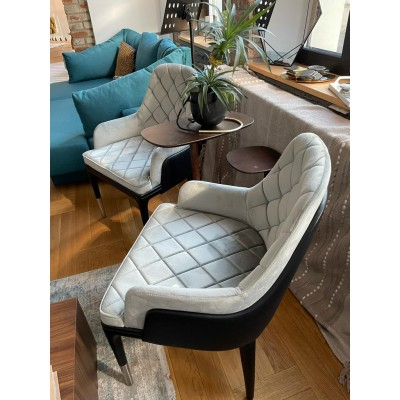 Chair with black wooden structure, fully upholstered in gray velvet and eco-leather - BENTLEY