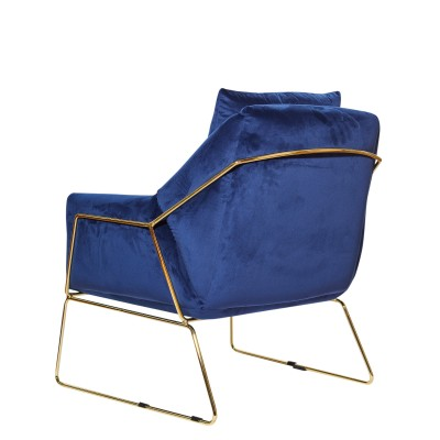 Armchair with metal structure, fully upholstered in velvet - BONNY