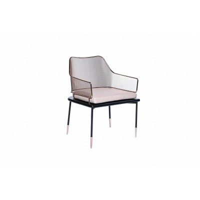 Chair with black metal frame and gold metal backrest, plus upholstered pillow, removable - CARLO