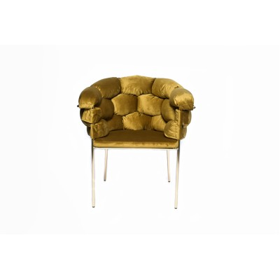 Chair with golden metal structure, fully upholstered with golden velvet - BALONLU