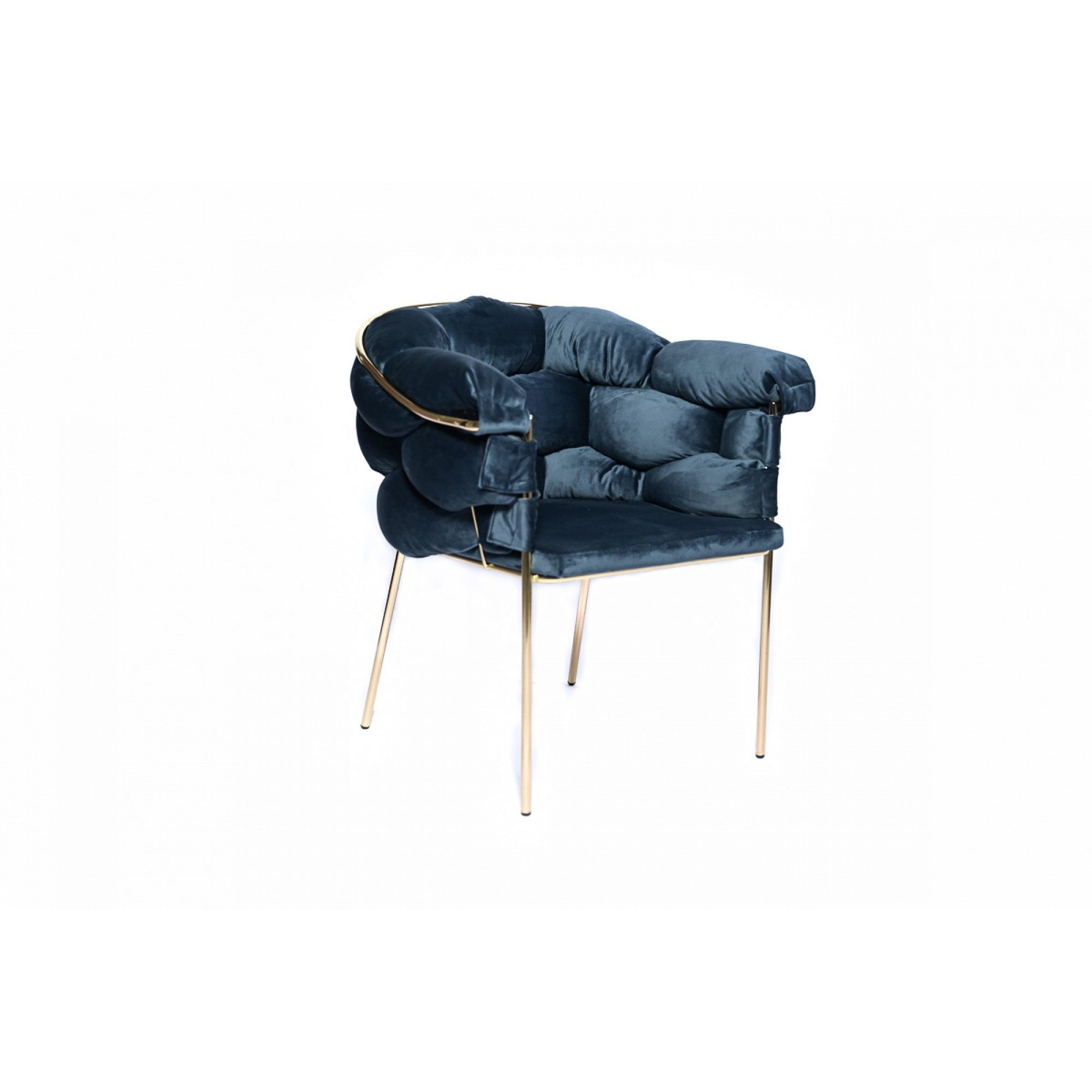 Chair with golden metal structure, fully upholstered with blue velvet - BALONLU