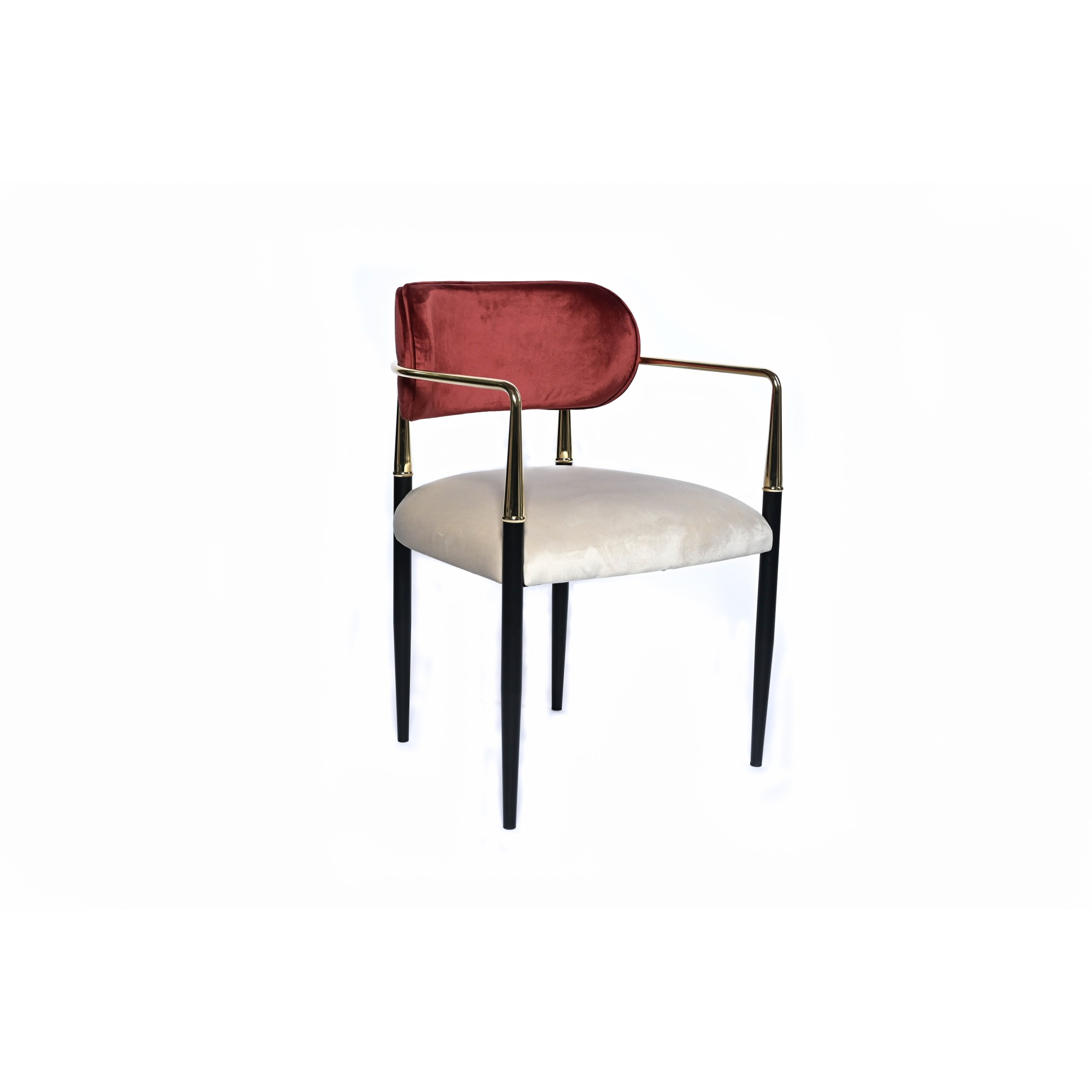Chair with black metal structure, fully upholstered in beige and burgundy velvet, with gold handles - HAMILTON