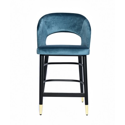 Bar chair with black wooden legs and fully upholstered in blue-petrol velvet - SIGMA BAR