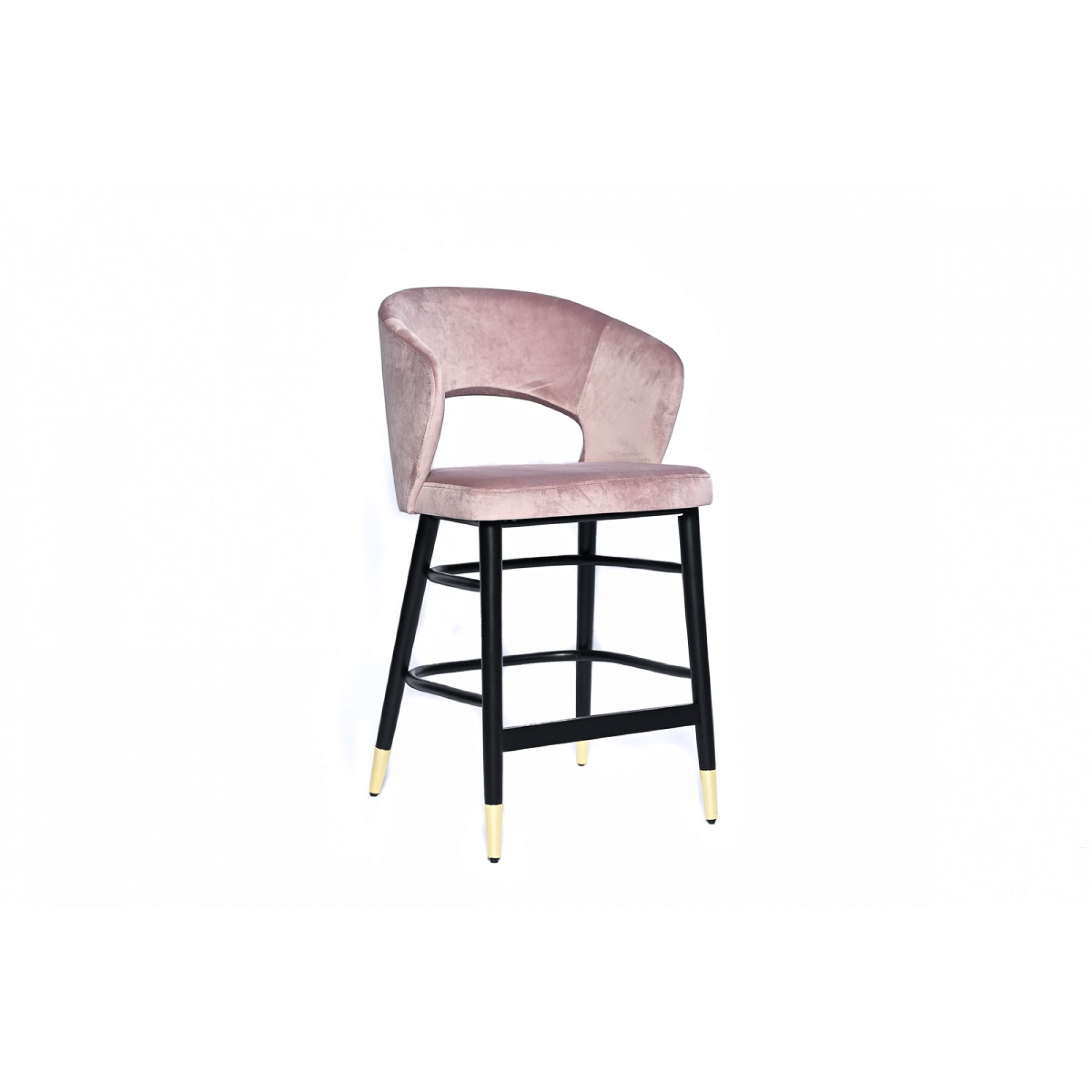 Bar chair with black wooden legs and fully upholstered in lilac velvet - SIGMA BAR